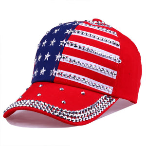 Male and female American flag rhinestone hat personality five-pointed star rivet baseball cap visor cap outdoor shopping hat