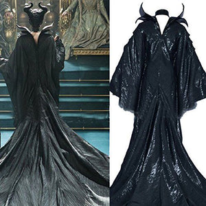 Maleficent Dress Horn Black Witch Adult Men Women Costume Custom Made Maleficent Cosplay Suit Halloween Costumes