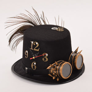 Man/Woman Unisex Black Punk Fedora Glasses Gear Clock Deco Top Hat