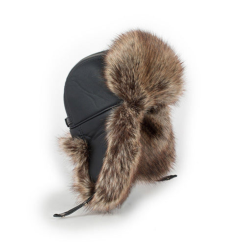 Faux leather men's Bomber hats with ear flap Russian winter Faux fur Earmuf caps brown color CS117