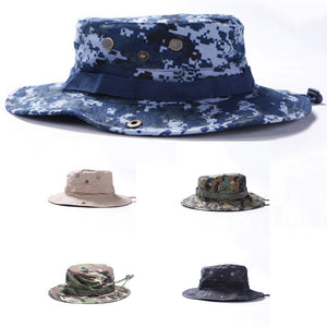 0b3a02cbb16 Men Big Eaves Fisherman Hats Tactical Camouflage Print Broad Brim Outdoor  Cycle Camping Mountaineering Bucket Round Camo Hat Cap