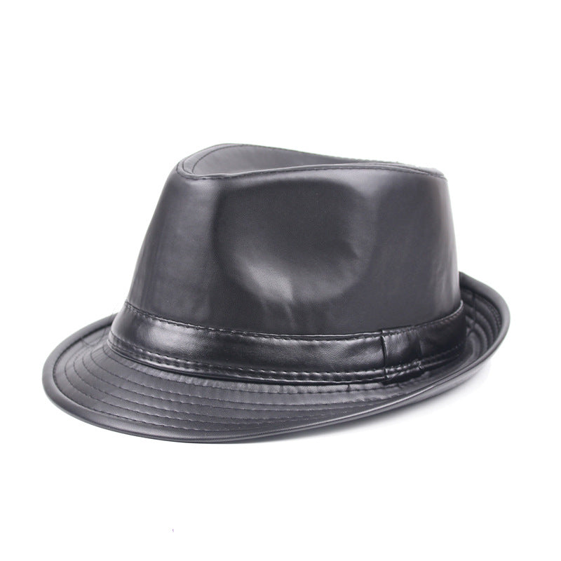 1fbbe600 Load image into Gallery viewer, Men Black Leather Fedoras Jazz Cap Retro  Winter PU Leather ...