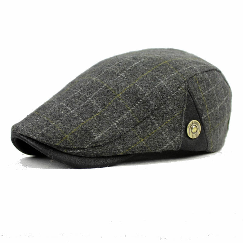 Men Casual Cap Wo Berets for Men Women Winter Warm Newsboy Classic Plaid  Flat Grey Khaki Black French Artist Hat 5321f4af3ec