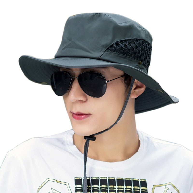 Men Fishing caps Mesh Summer Fishing Hiking Cap Wide Brim UV Protection Flap Hat Breathable Beach Cap Outdoor