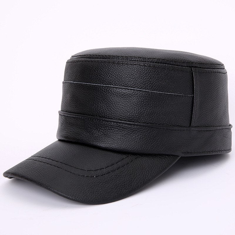 Men Genuine Leather Cowskin Cap Adult Winter Warmth Solid Color Hat Elderly Brown Black Cap Father Fashion Hats B-7276