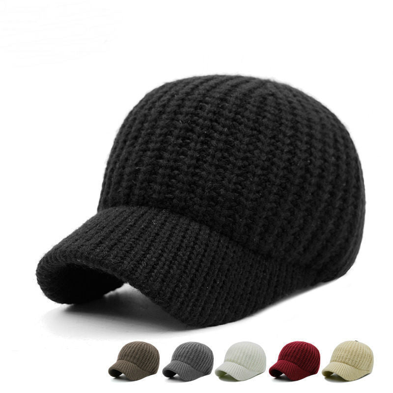 Men Hats Male Autu And Winter Solid Color Knitting Hat Women Outdoors Short Peaked Baseball Cap