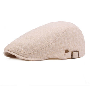 Men Linen Cotton Golf Driving Beret Cabbie Hat Newsboy Flat Ivy Sun Summer Cap HATCS0513
