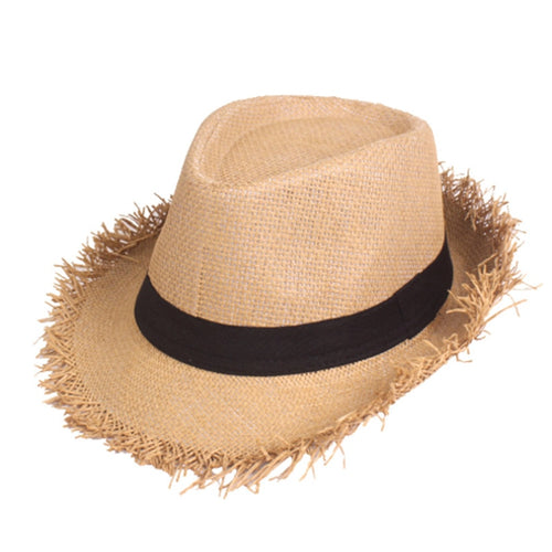 Men Panama Summer Jazz Hat Raw Brim Casual Sun Hat Summer Fedoras Hat Fashion Hawaii Beach Straw Cap