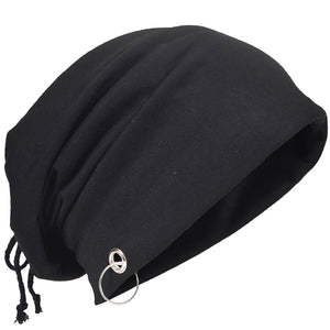 Men Retro Hollow Slouch Beanie Cap Strap Ring Skullcap Thin Co Summer Hat HISSHE