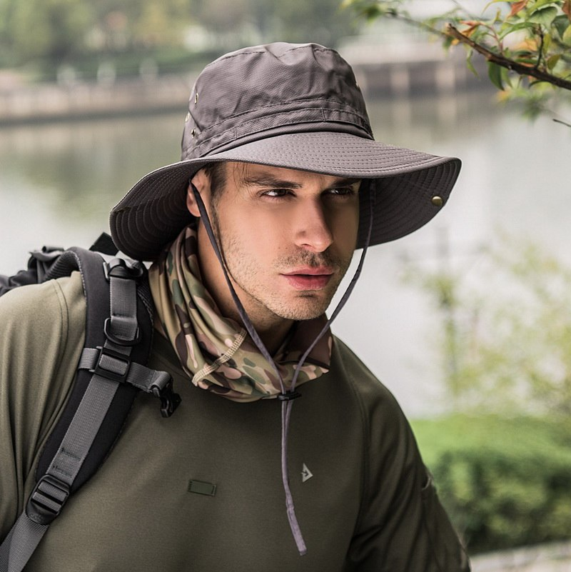 64a002731d4 Men Solid Cotton Bucket Hats Boonie Hunting Fishing Outdoor Cap Wide ...