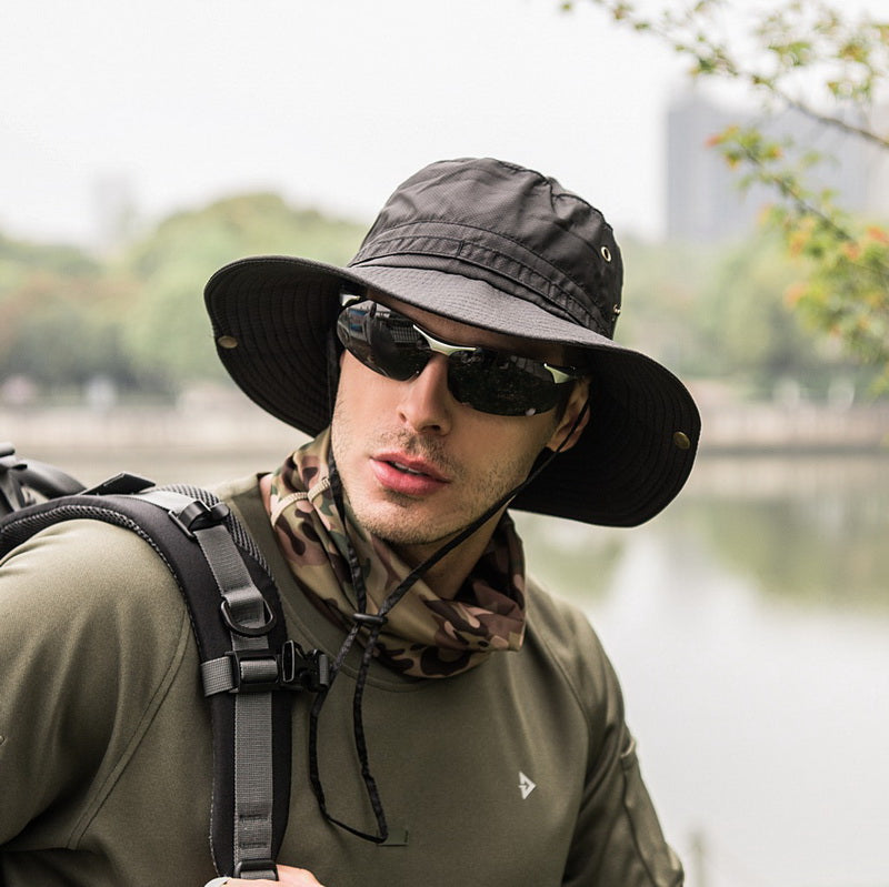 240aac9488e9cf Load image into Gallery viewer, Men Solid Cotton Bucket Hats Boonie Hunting  Fishing Outdoor Cap ...