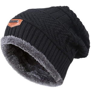 Men Warm Winter Knitted Beanie Hat Fleece Sullies Cap Black  Male Casual Thick Soft  Head Warmer