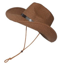 Load image into Gallery viewer, Men Wide Brim Hat Summer Beach Straw Cap Sun Floppy Foldable Hats for Adults (Beige)