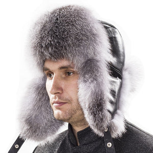153013dd9 Men Winter Fur Hat with Ear Flaps Russian Bomber Leather Fur Hat Hot  Fashion Winter Trapper Caps For Man Fox Fur Winter Hat