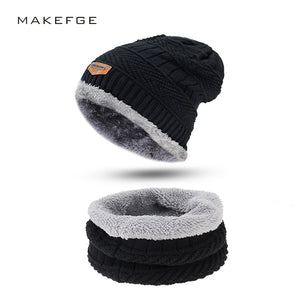 Men Winter Slouchy Beanie Hat Scarf Set Women Lined Thick Knit Skull Cap Thick Warm Wo Knitted Hat and Scarf Winter