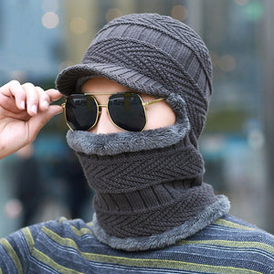 Men Winter Wo Knitted Balaclava Cap Ninja Mask Warm Plush Pocket Hat Motorcycle Snow Cap Beanies&Skullies