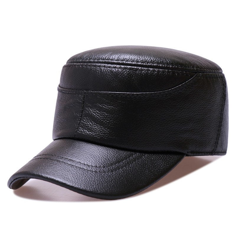 Men/Women Army Hat Leather Military Caps Casual Black/Brown Captain Hats Retro Autumn/Winter Luxury Classic Flat Top Caps 2018