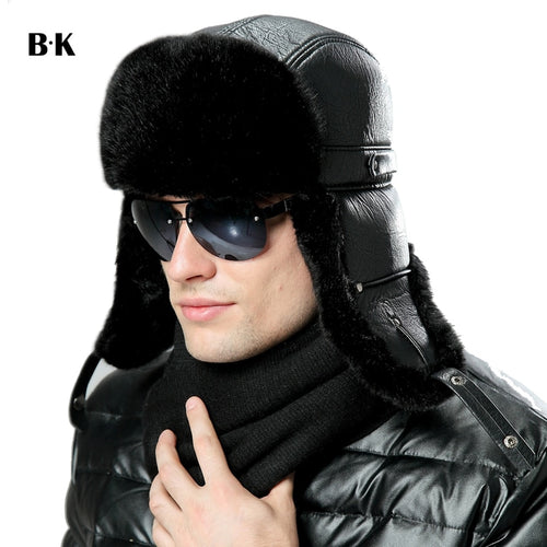 Men Women Bomber Hats Black Russian Ushanka Winter Plush Earflap Trapper Aviator Pilot Hat Faux Leather Fur Snow Ski Caps