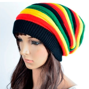 Men Women Stripe Knitted Beanie Baggy Skullcap Hat Ski Winter Hip-Hop Trendy Hat Fashion New High Quality Hat