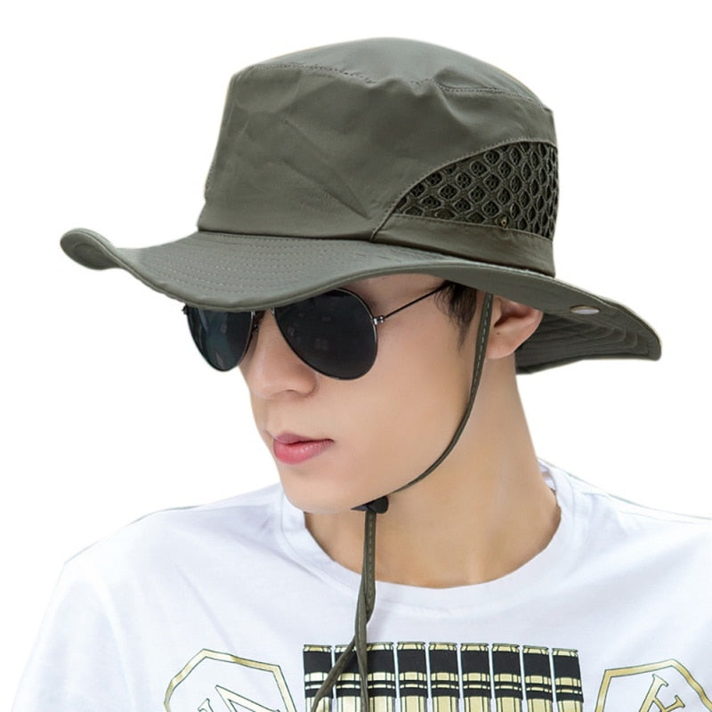 Men Women Summer Mesh Fishing Hiking Cap Wide Brim UV Protection Flap Hat Breathable Beach Cap Outdoor