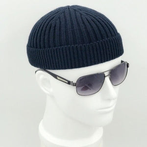 Men Women Unisex Knitted Hat Beanie Skullcap Sailor Cap Cuff Brimless Vintage Retro Navy Black Grey Solid Fashion New 904-A080