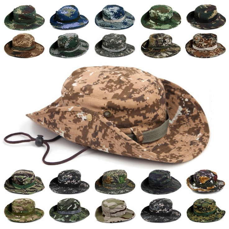 2c4eb66538e Men Women s Outdoor Sports Travel Camping Hiking Caps Wide Round Brim  Camouflage Beach Fishing Bucket Hats Sun Protection Boonie