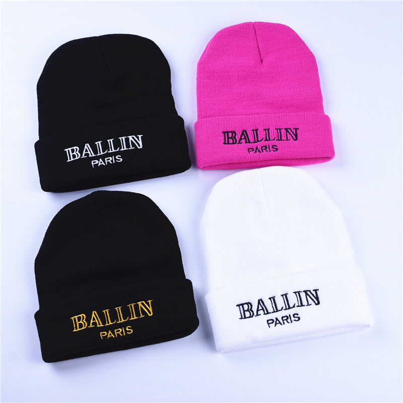 Men and Women'S Winter Hat Ballin Paris Embroidery Knitted Beanies Hats Hip Hop Ski Cap Warm White Black Pink Gold Colors