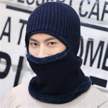 Load image into Gallery viewer, Men knitted wo Skullies Beanies autumn winter velvet bonnet Korean adult fashion navy blue gray black khaki Hat cap
