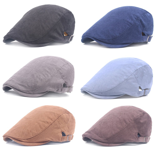Men's Cot Solid Color Stripe Cabbie Ivy Driving Hat Newsboy Golf Beret Cap HATCS0506