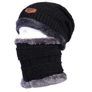 Men's Thermal Fleece Lining Winter Beanies Hats and Neck Hood Balaclava Style Skull Caps Set Gray Black Navy Brown Dark Red