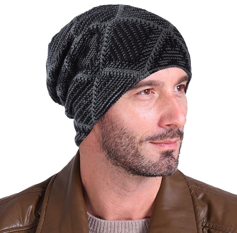 Men s Winter Knitted Hat 2018 Fashion Soft Warm Beanies Thick and ... eed932b9601