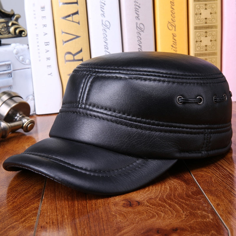 Men s leather hat warm winter sheep leather flat cap casual ear protection  quilted sheepskin military hat black Baseball hats 187529e8857