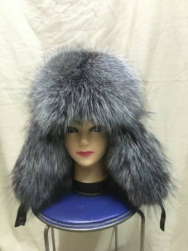Men's winter hat real fox fur winter hat autu winter cap with natural raccoon/fox fur and leather earflap bomber hat H202