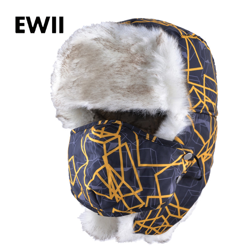 b06c053518629 Men winter cap with earflaps faux fur ushanka trapper russian hat for men  warm bomber hats women casual snow caps gorra hombre