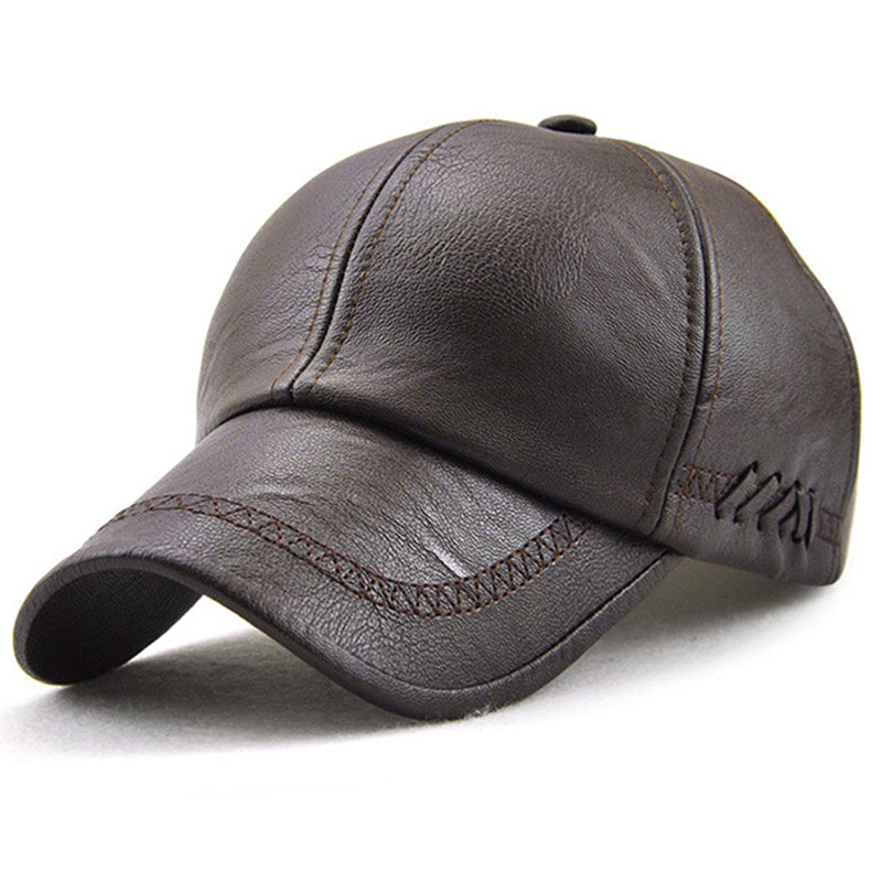Mens Baseball Cap Golf Ball Sports Cap Autumn Winter PU Leather Peaked Sun Hat Outdoor Casual Adjustable Bone PU Hats for Men