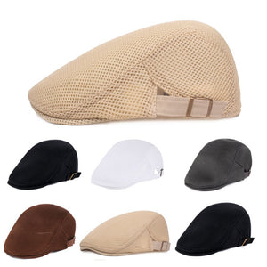 694b5a9e9fee Mens Breathable Mesh Summer Duckbill Hat Newsboy Beret Ivy Cap Cabbie Flat  Soft Driving Outdoor Adjustable