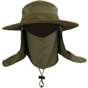 f88e54cdf0 Mens Fishing Hat Round Edges Cap Camping Hat Sun UV Protection Summer Bucket  Cap with Neck