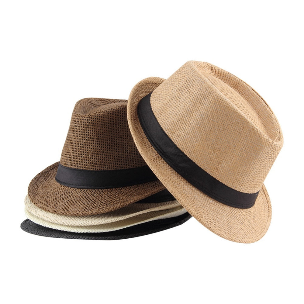 Mens Panama Sun Caps Ribbon Round Flat Top Straw Beach Hat Caps
