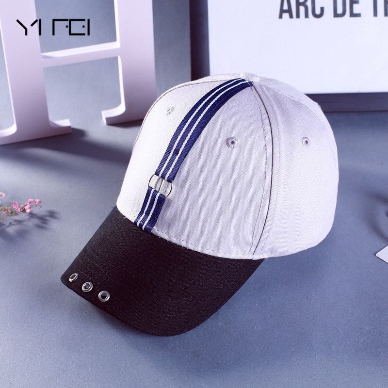 Mens Snapback Hats Solid Color Iron Ring Decor Cot Hats Women Kpop Simple Baseball Caps Unisex Accessories Stripe Topi