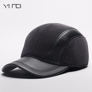 1b2fc7f0602118 Mens Winter Leather Cap Warm Patchwork Dad Hat Baseball Caps With Ear Flaps  Russia Adjustable Snapback