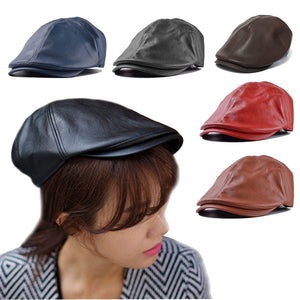 Mens Women Vintage Leather Beret Cap Peaked Hat Newsboy Sunscreen  high quality Artificial Leather about 23*20*16cm Soft