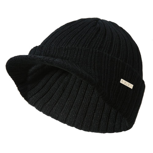 Mens Womens Winter Beanies Hat Skullies Winter Warm Knitted Cap With Visor Brim
