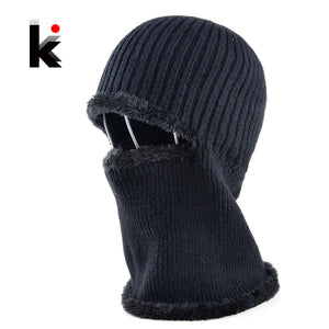 Mens winter face mask hat skullies and beanies knitted wo stocking hat plus  velvet cap thicker 1bb452d8395