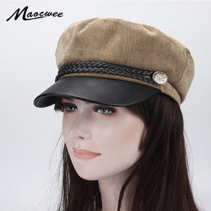 0e7ee0cb Military Cap Hat Female Spring Winter Hats for Women Men Ladies Army  Militar Hat Pu Leather Visor Black Cap Solid Color Bone New