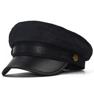 Military Cap Hat Female Winter Hats For Women Men Ladies Army Militar Hat Pu Leather Visor Black Cap Sailor Hat Bone Male