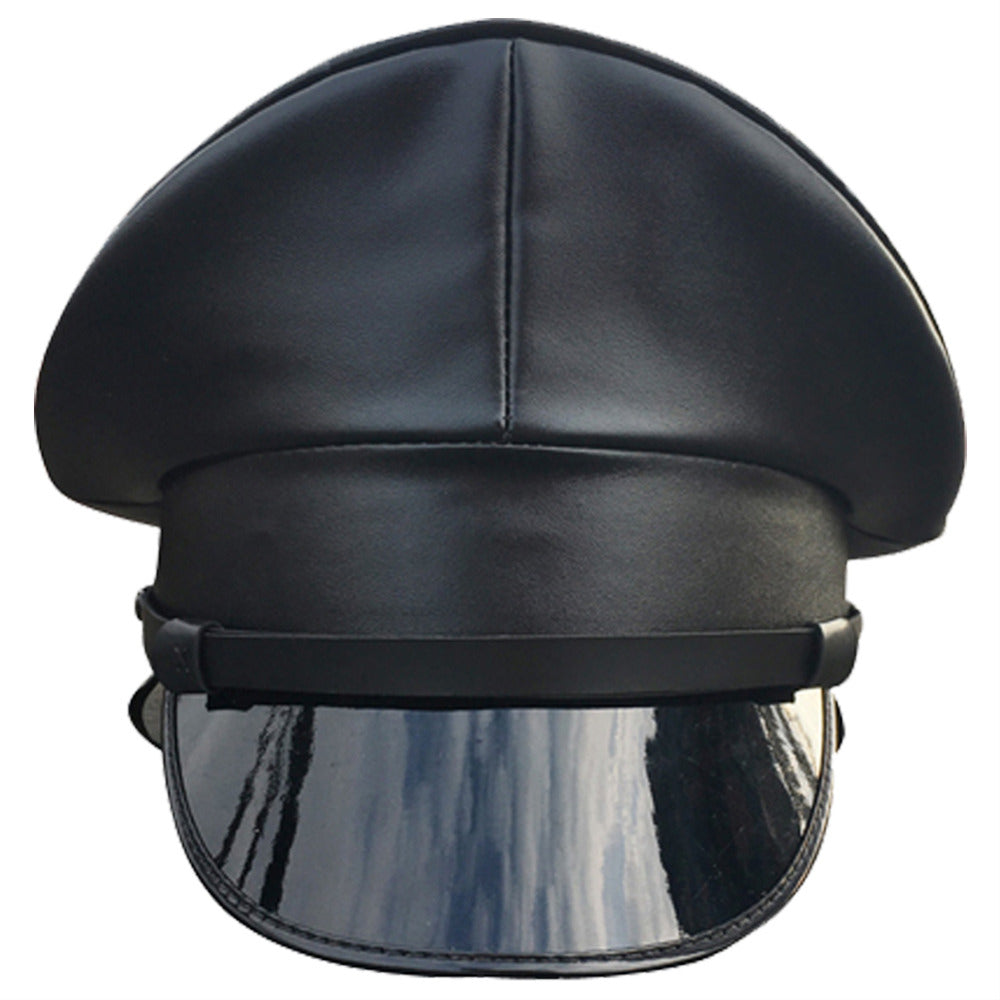 Military Cap Men Boys PU Leather Hat Performance Hat Stage Show Night Bar Party Hat Adult Men Black Military Hats
