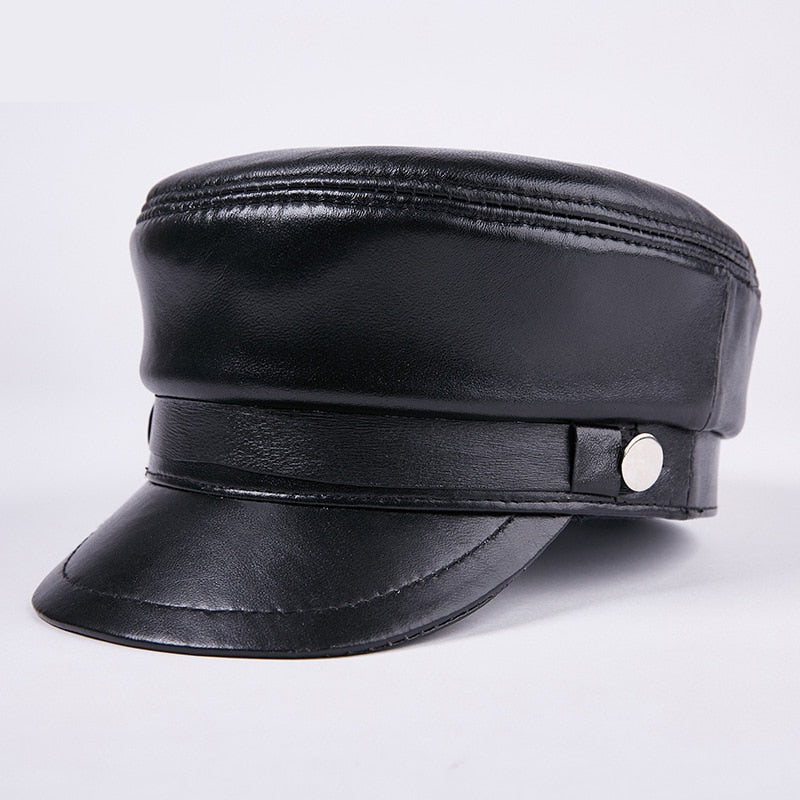 Military Cap sheepskin leather hat Female Winter Hats For Women Men Ladies Military Hats Leather Visor Black Cap Sailor Hat Male