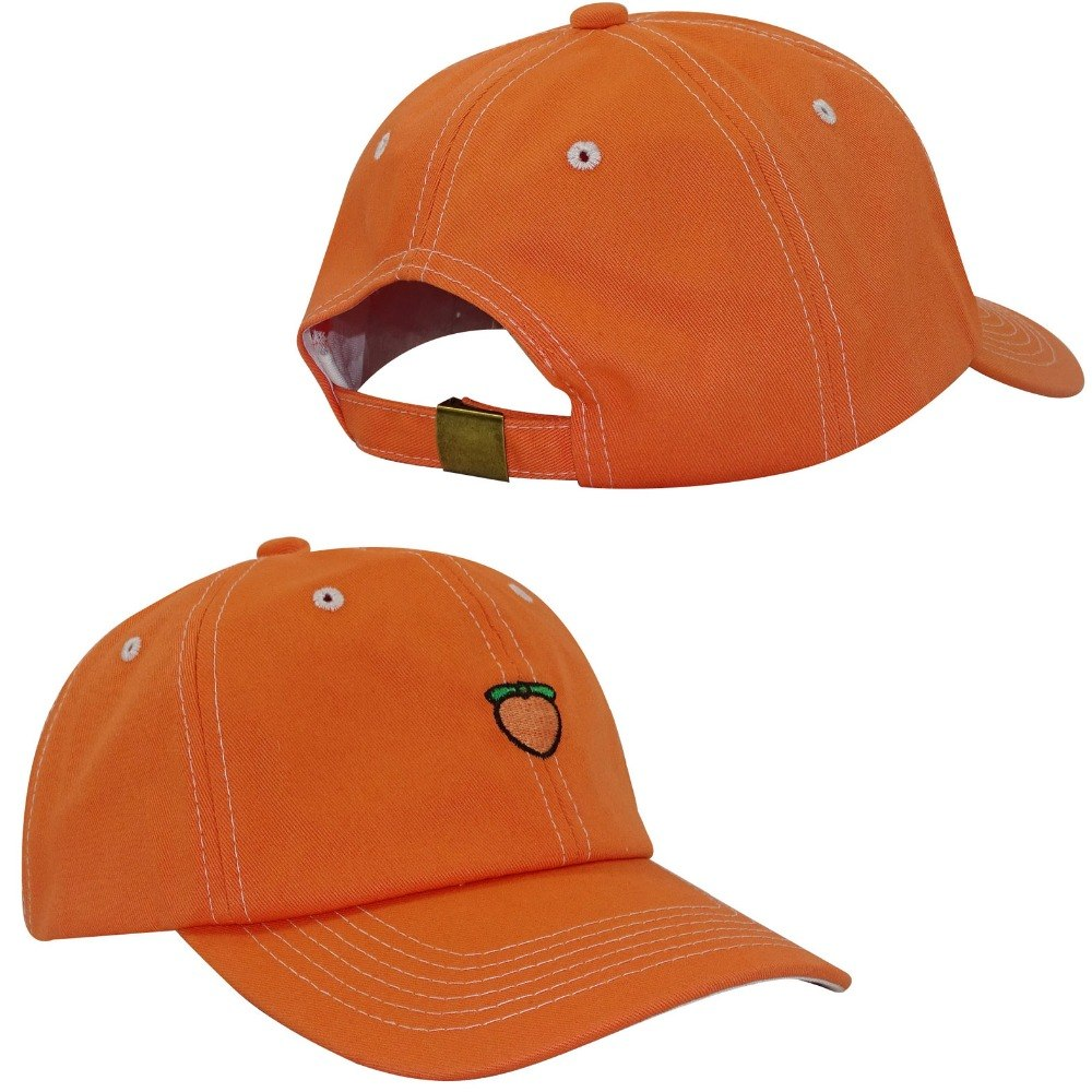 Men's  Cot Baseball Cap Peach embroidery womens orange color baseball hats Mens Dad Cap Hat Adjustable Snap Back