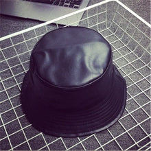Load image into Gallery viewer, 2017 New Fashion PU Hip Hop Caps Bucket Hats for Men and Women Hat Leather Bobs Panama Bapa Hat