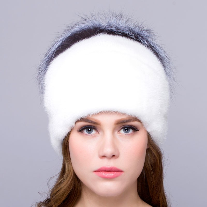 Mink fur female winter hat warm natural fox fur design real fur hat beautiful fashion new discount free shipping high quality